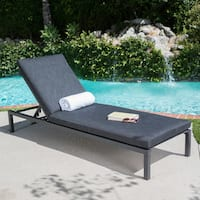 Navan Outdoor Aluminum Chaise Lounge with Cushion by Christopher Knight Home