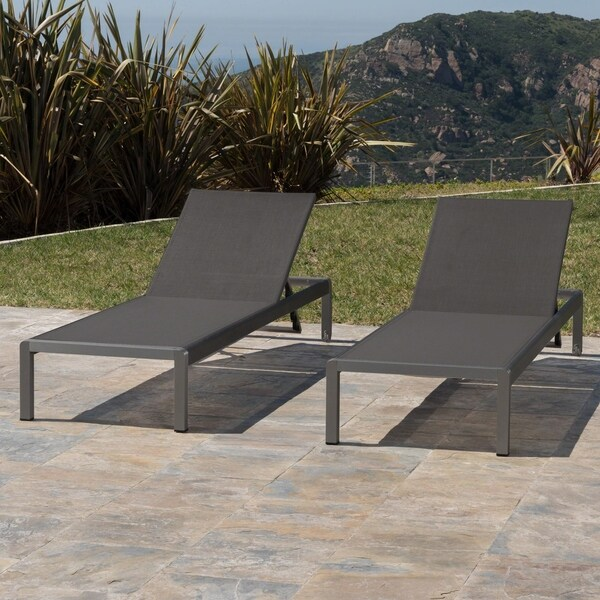 Shop Cape Coral Outdoor Aluminum Chaise Lounge Set Of 2