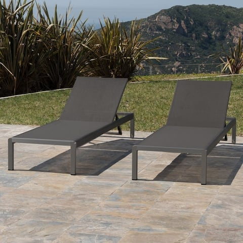 Cape Coral Outdoor Aluminum Chaise Lounge (Set of 2) by Christopher Knight Home