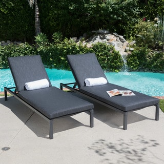 Navan Outdoor Aluminum Chaise Lounge With Cushion (Set Of 2) By Christopher  Knight Home
