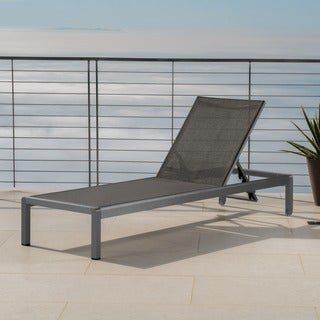 Cape Coral Outdoor Aluminum Chaise Lounge by Christopher Knight Home