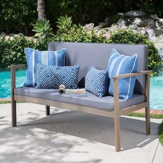 Luciano Outdoor Acacia Wood Bench with Cushions by Christopher Knight Home