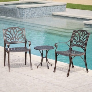 Lola Outdoor 3-piece Round Aluminum Chat Set by Christopher Knight Home