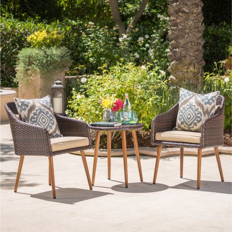 Sarasota Outdoor 3-piece Round Aluminum & Wicker Chat Set with Cushions by Christopher Knight Home