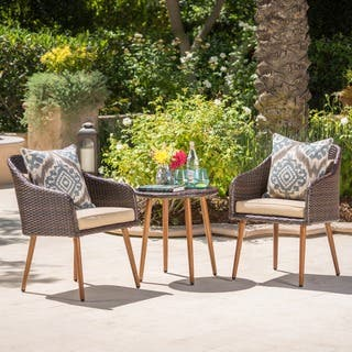 Sarasota Outdoor 3 Piece Round Aluminum Wicker Chat Set With Cushions By Christopher Knight