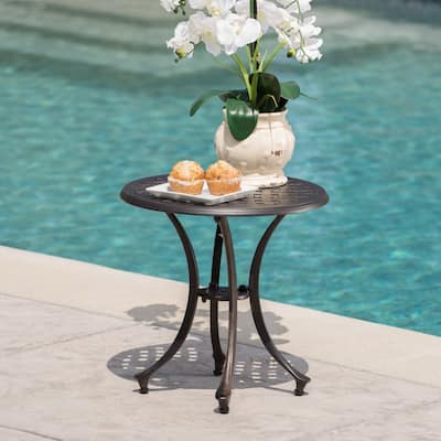 Lola Outdoor Round Aluminum Side Table by Christopher Knight Home
