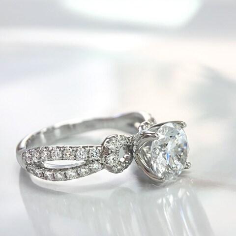 Lihara and Co. 18k White Gold 1/2ct TDW White Diamond Split Band Semi-Mount Engagement Ring (G-H, VS1-VS2) - White G-H