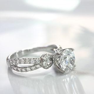 Lihara and Co. 18k White Gold 1/2ct TDW White Diamond Split Band Semi-Mount Engagement Ring (G-H, VS1-VS2)