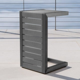 Link to Cape Coral Outdoor C-Shape Aluminum Side Table by Christopher Knight Home Similar Items in Outdoor Coffee & Side Tables