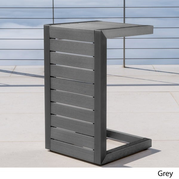 Cape Coral Outdoor C-Shape Aluminum Side Table by Christopher Knight Home