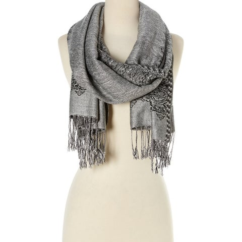 Stylish and Fashionable High Class Women's Scarf and Pashmina (Silver with Black)  - Large