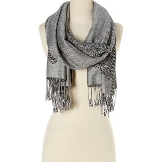 Stylish and Fashionable High Class Women's Scarf and Pashmina (Silver with Black) …