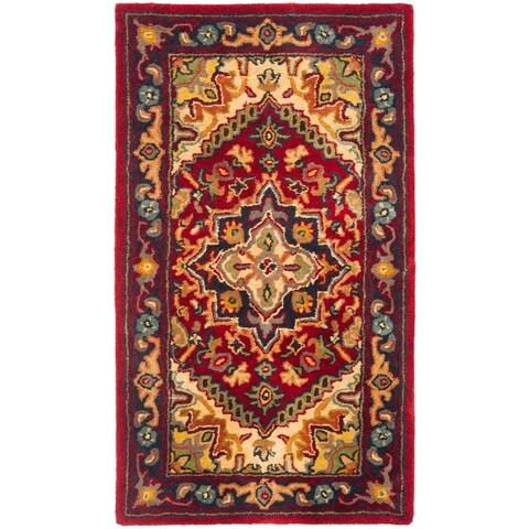 Safavieh Handmade Heritage Traditional Heriz Red/ Navy Wool Rug - 2' x 3'