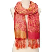 Beautifully Designed Ladies Silk Metallic Blend soft Pashmina Scarf (Orange) … - Large