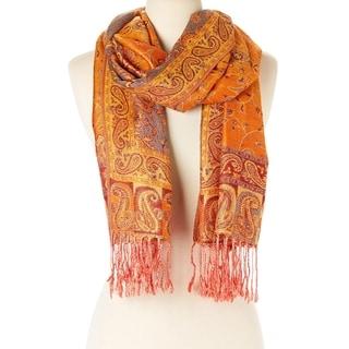 Elegantly Printed Designer Ladies Silk Metallic Blend soft Pashmina Scarf Wrap Shawl (Orange) …