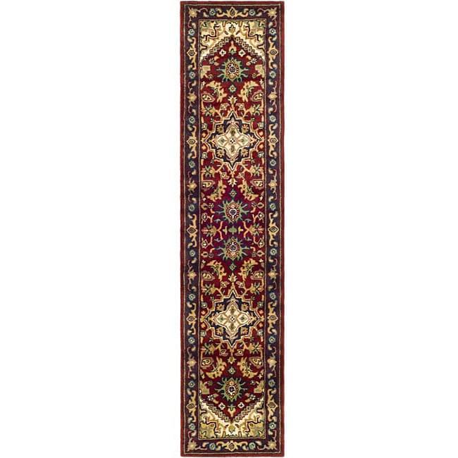 Safavieh Handmade Heritage Traditional Heriz Red/ Navy Wool Runner (2'3 x 8')