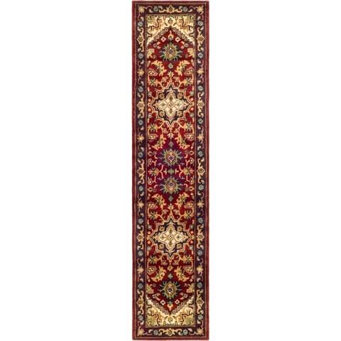 """Safavieh Handmade Heritage Traditional Heriz Red/ Navy Wool Runner - 2'3"""" x 8'"""