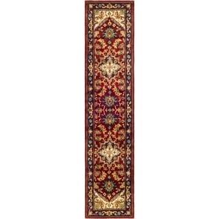"""Safavieh Handmade Heritage Traditional Heriz Red/ Navy Wool Runner - 2'-3"""" x 8'"""