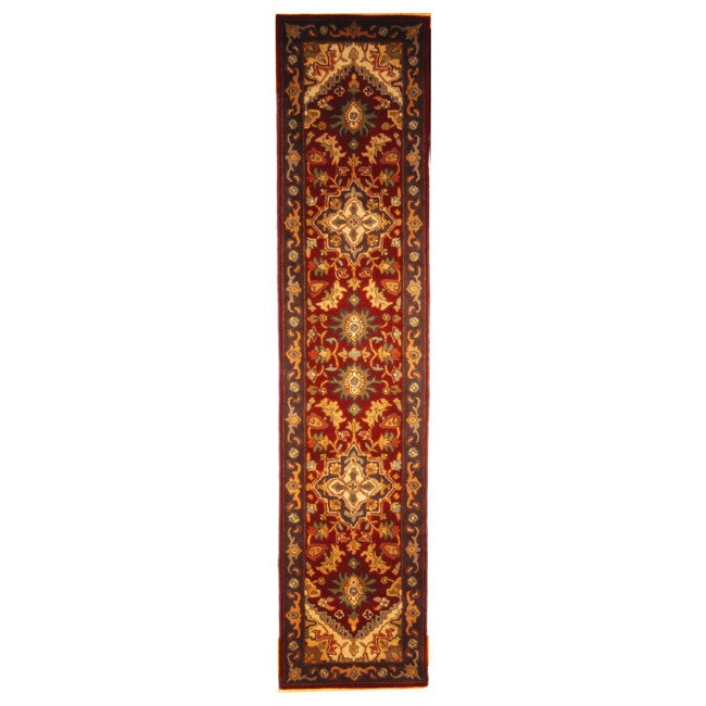 Safavieh Handmade Heritage Traditional Heriz Red/ Navy Wool Runner Rug - 2'3 x 10'