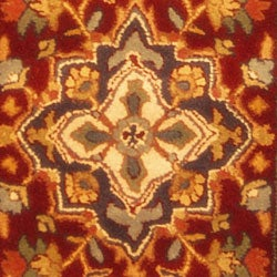 Safavieh Handmade Heritage Traditional Heriz Red/ Navy Wool Runner (2'3 x 10') - Thumbnail 1