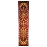 Safavieh Handmade Heritage Traditional Heriz Red/ Navy Wool Runner (2'3 x 10')