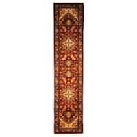 Safavieh Handmade Heritage Traditional Heriz Red/ Navy Wool Runner Rug - 2'3 x 10'