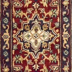 Safavieh Handmade Heritage Traditional Heriz Red/ Navy Wool Runner (2'3 x 12') - Thumbnail 1