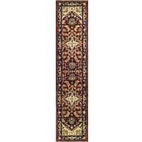 Safavieh Handmade Heritage Traditional Heriz Red/ Navy Wool Runner (2'3 x 12')