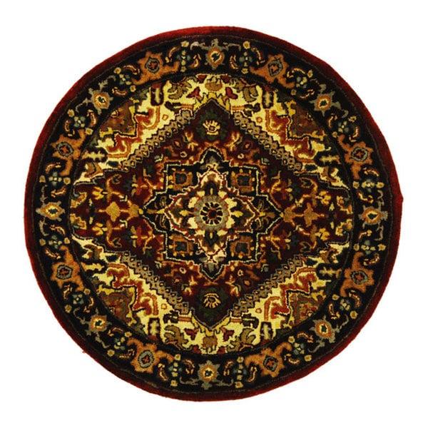 """Safavieh Handmade Heritage Traditional Heriz Red/ Navy Wool Rug - 3'6"""" x 3'6"""" round"""