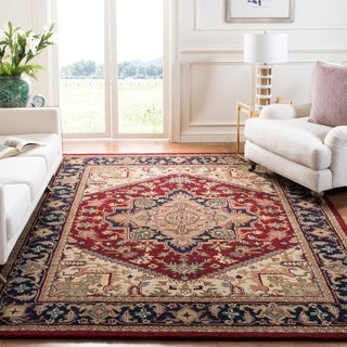 Safavieh Handmade Heritage Traditional Heriz Red/ Navy Wool Rug (5' x 8')