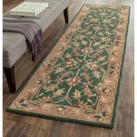 Safavieh Handmade Heritage Traditional Kashan Dark Green/ Gold Wool Runner Rug