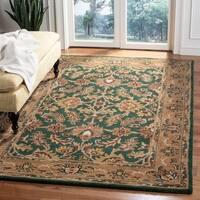 Safavieh Handmade Heritage Traditional Kashan Dark Green/ Gold Wool Rug - 6' x 9'