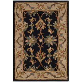 Safavieh Handmade Heritage Traditional Kashan Black/ Beige Wool Rug (2' x 3')