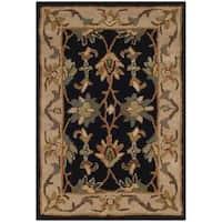 Safavieh Handmade Heritage Traditional Kashan Black/ Beige Wool Rug - 2' x 3'