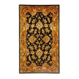 Safavieh Handmade Heritage Traditional Kashan Black/ Beige Wool Rug (4' x 6')