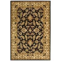 Safavieh Handmade Heritage Traditional Kashan Black/ Beige Wool Rug - 5' x 8'