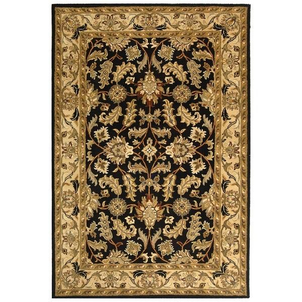 Safavieh Handmade Heritage Traditional Kashan Black/ Beige Wool Rug (5'x8')