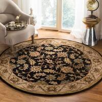 Safavieh Handmade Heritage Traditional Kashan Black/ Beige Wool Rug - 6' x 6' Round