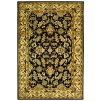 Safavieh Handmade Heritage Traditional Kashan Black/ Beige Wool Rug - 6' x 9'