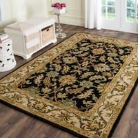 Safavieh Handmade Heritage Traditional Kashan Black/ Beige Wool Rug - 7'6 x 9'6