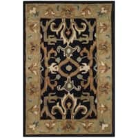 Safavieh Handmade Heritage Timeless Traditional Charcoal Grey/ Ivory Wool Rug - 2' x 3'