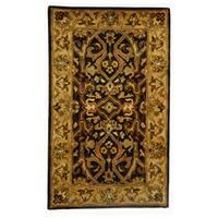 Safavieh Handmade Heritage Timeless Traditional Charcoal Grey/ Ivory Wool Rug - 3' x 5'