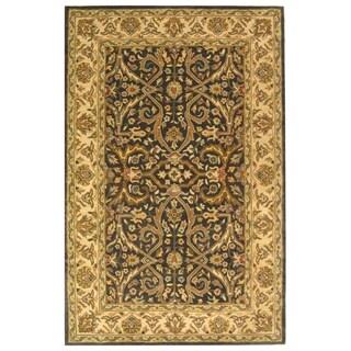 Safavieh Handmade Heritage Timeless Traditional Charcoal Grey/ Ivory Wool Rug (4' x 6')