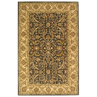 Safavieh Handmade Heritage Timeless Traditional Charcoal Grey/ Ivory Wool Rug (6'x9')