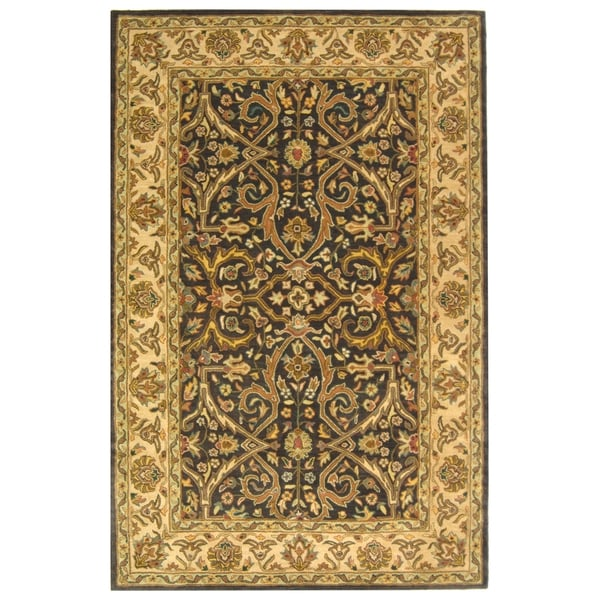 Safavieh Handmade Heritage Timeless Traditional Charcoal Grey/ Ivory Wool Rug (7'6 x 9'6)
