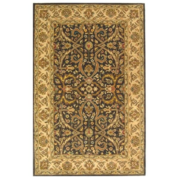 Safavieh Handmade Heritage Timeless Traditional Charcoal Grey/ Ivory Wool Rug - 8' x 10'