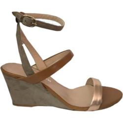 Women's Charles David Cassie Ankle Strap Wedge Sandal Silver Metallic Leather
