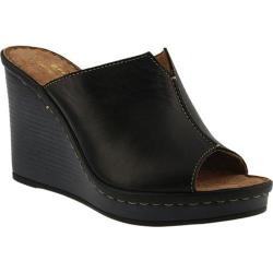 Women's Spring Step Chrisy Wedge Slide Black Leather