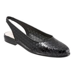 Women's Trotters Lucy Woven Slingback Black Leather