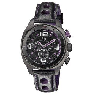 Giulio Romano Men's Quartz Multi Function Black and Purple Leather Strap Watch